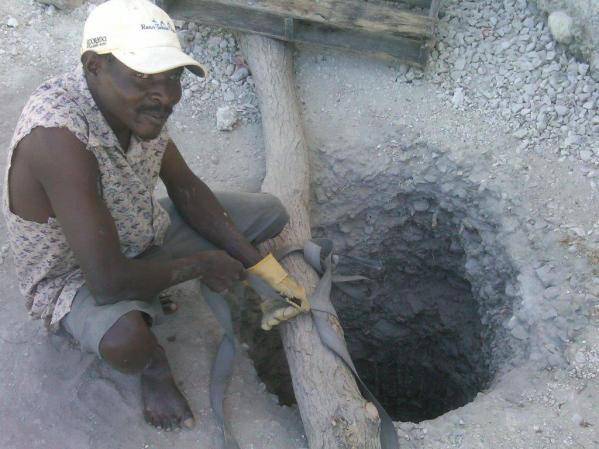 A nearby hand-dug well
